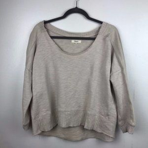 Madewell Off Shoulder Beige Slouchy Sweatshirt